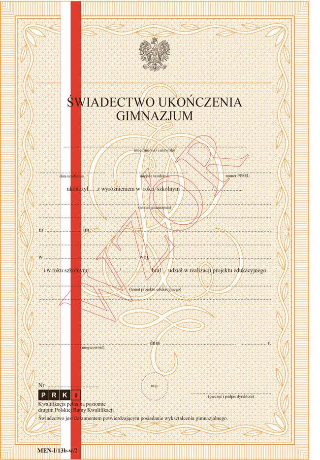 świadectwo ukończenia szkoły z certyfikatem PRK